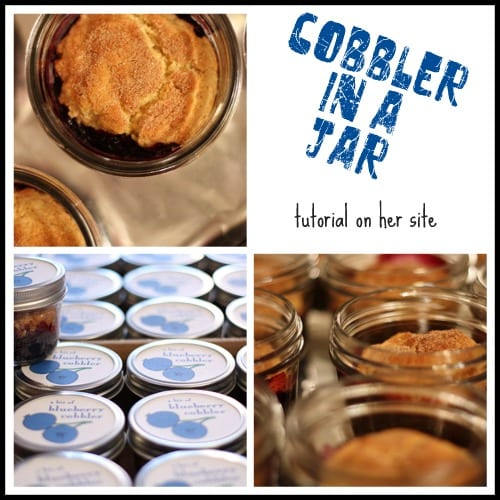 blueberry cobbler in a jar