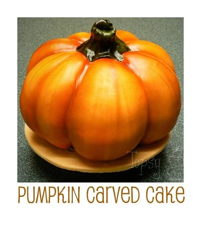 pumpkin fondant carved cake