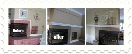 before and after fireplace mantle