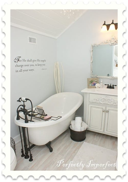 remodeld bathroom with clawfoot tub