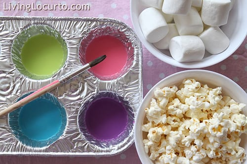 painted food marshmallows and popcorn