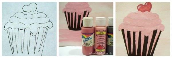 painting cupcakes tutorial