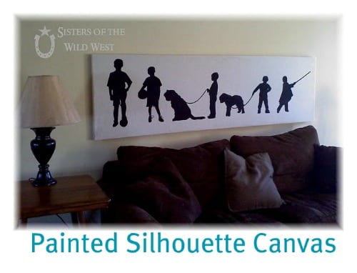 painted silhouettes on a drop cloth canvas