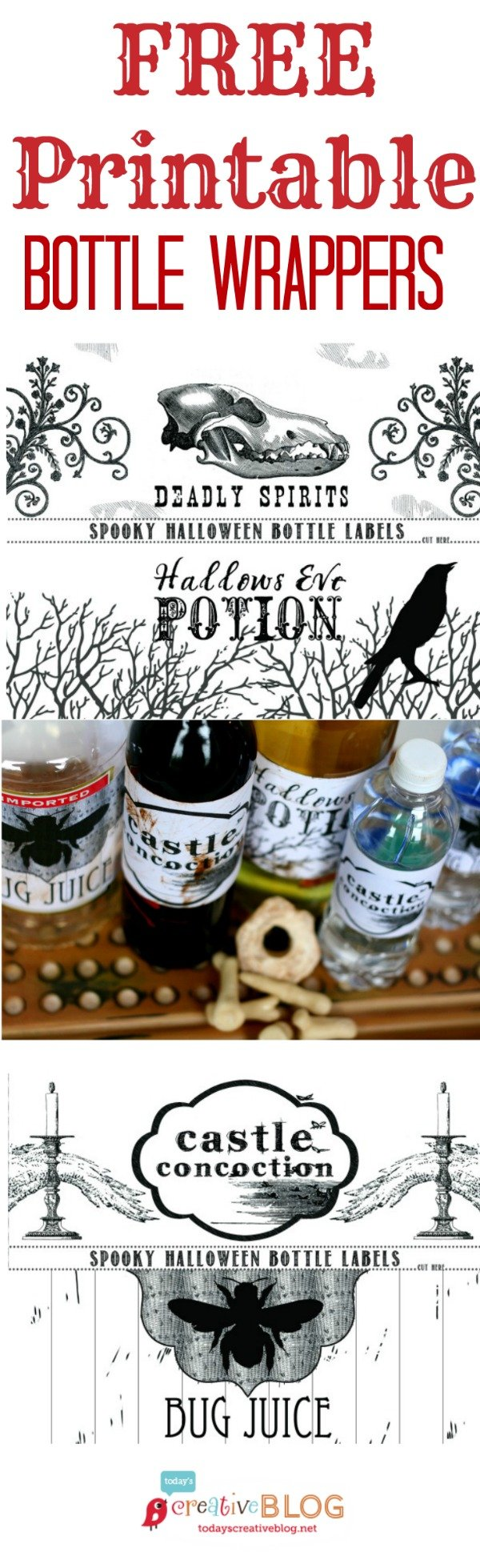 Printable Halloween Bottle Labels | Make you halloween party easy with these easy bottle labels! Get your download from TodaysCreativeLife.com
