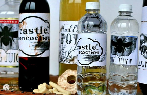 Wine and Water Bottles with Halloween Labels