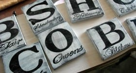 painted monogram blocks