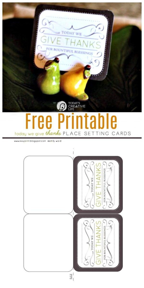 Thanksgiving Table Place Cards Free Printable | Simple Thanksgiving Table ideas | Click for your free download.