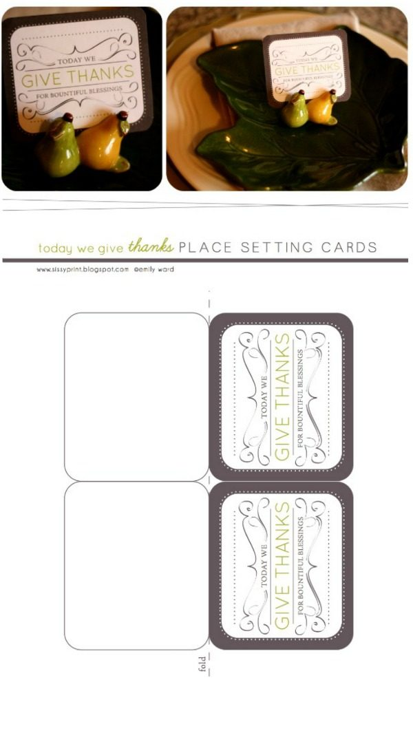 Thanksgiving Table Place Cards | Free printable Thanksgiving place setting cards. Designed by PiperJack for TCL. Download your copy here.