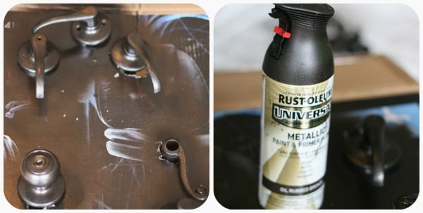 Rust-oleum spray paint - spray painting Door knobs | TodaysCreativeBlog.net