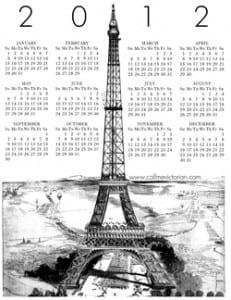 paris 2012 calendar