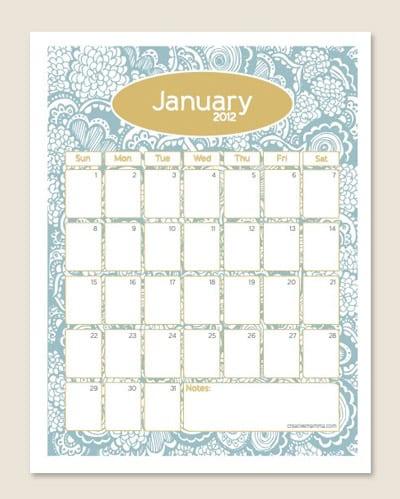 2012 year calendar printable
