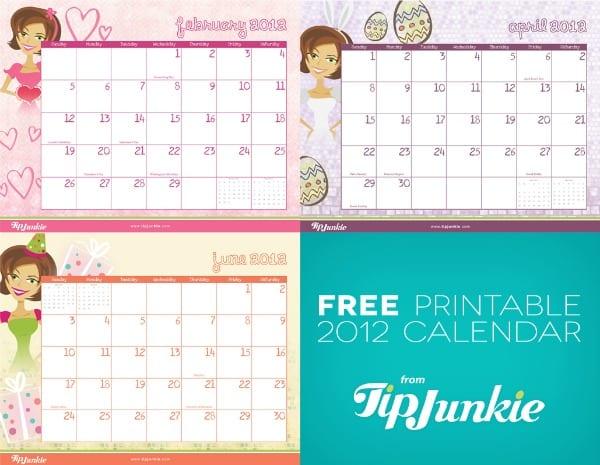 calendar 2012 printable tip junkie