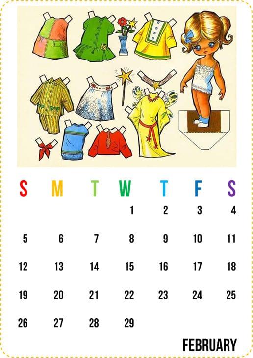 paper doll printable calendar 2012