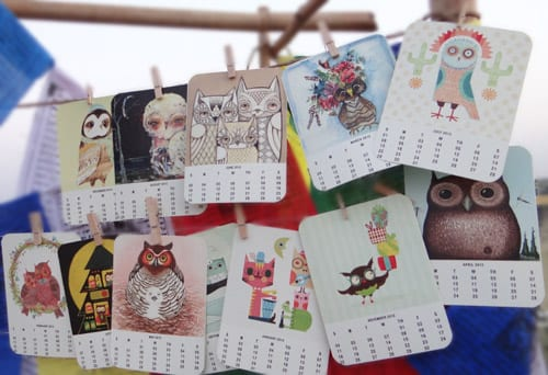 calendar with owls 2012