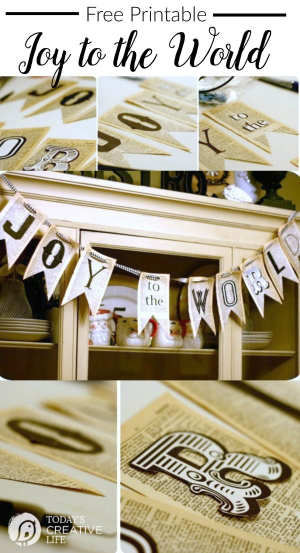 Christmas DIY Free Printable | Joy to the World letters for holiday decorating! Grab your free printable on Today's Creative Life