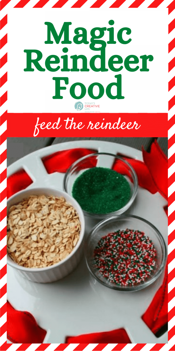 photo collage of reindeer food recipe to feed the reindeer.