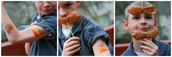 lorax craft using temporary tattoos