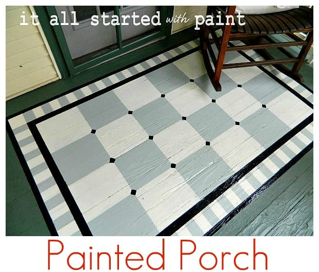 painted rug on  porch