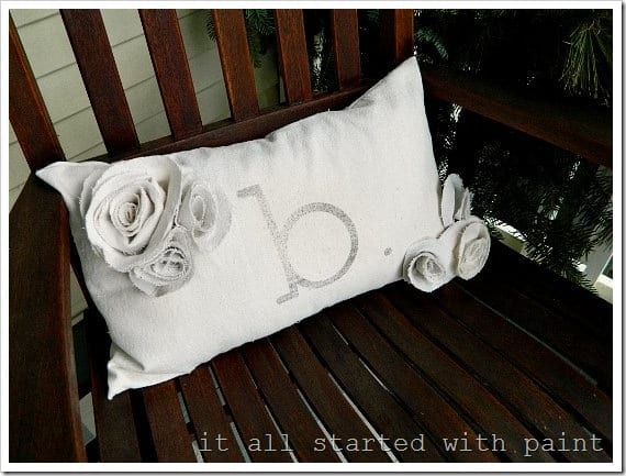 canvas stenciled pillow