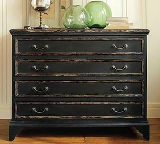 distressing furniture painted black