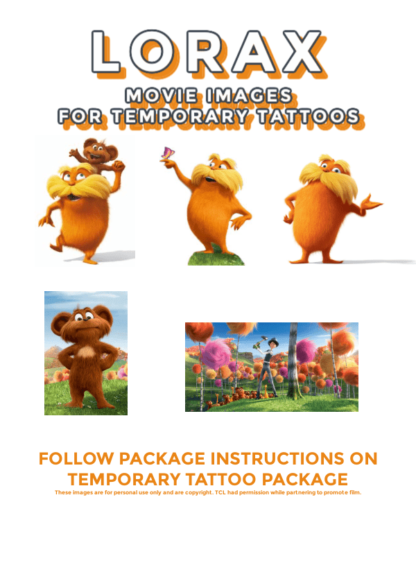 lorax characters for making temp tattoos