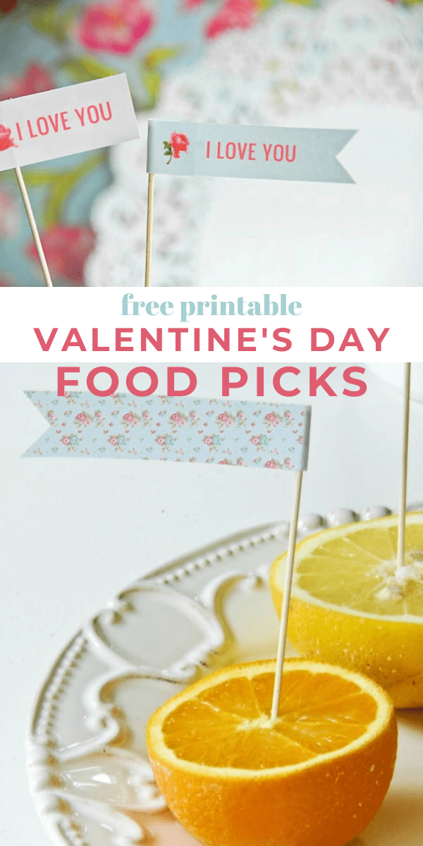 Valentines Day Printable food picks. Love you food picks in an orange