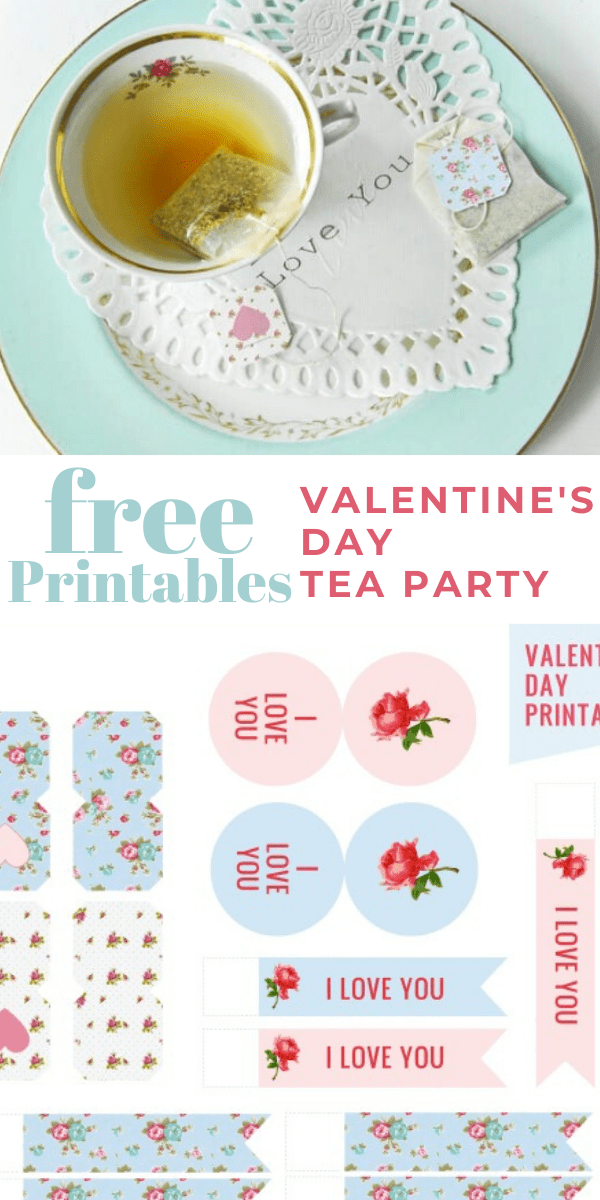 Valentine Tea Party Printables with teabag tags and food picks | Valentines Day Printable