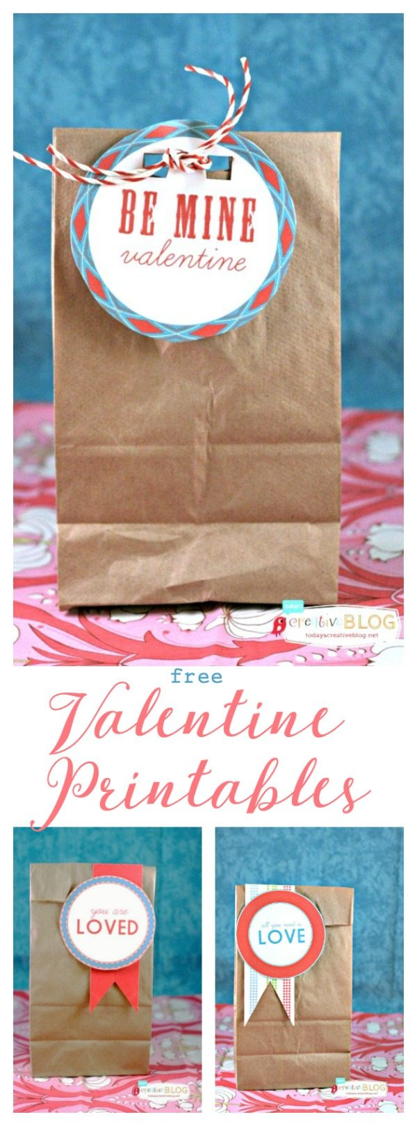 Valentines Printables | Free printable gift tags or labels for Valentine's Day. TodaysCreativeLife.com