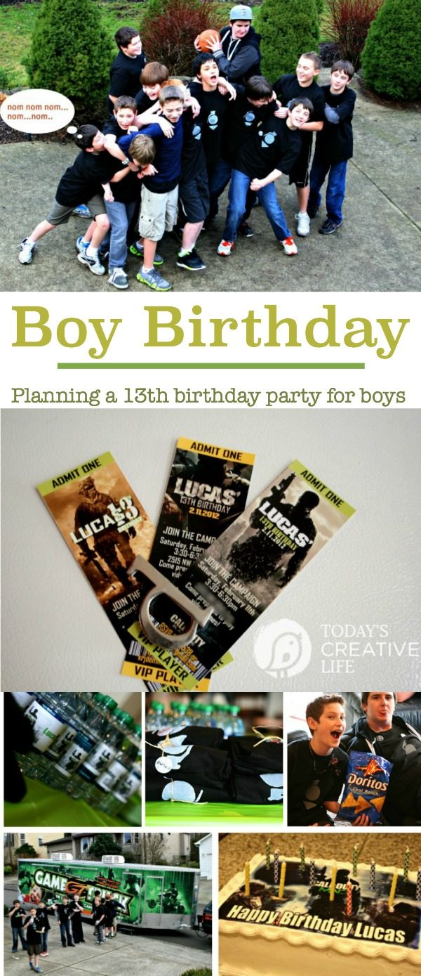 Birthdays for Boys | Birthday Party Planning for Boys | Birthday party ideas for teen boys | Here's what I did for my son when he turned 13! Easy DIY Screen Print T-shirts, Modern Warfare and the game truck! It was a hit! See more on Today's Creative LIfe