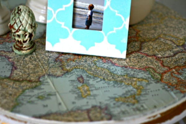 Decoupage Ideas - Vintage Map Table Top | Mod Podge your table top with a vintage map. See more on Today's Creative Life