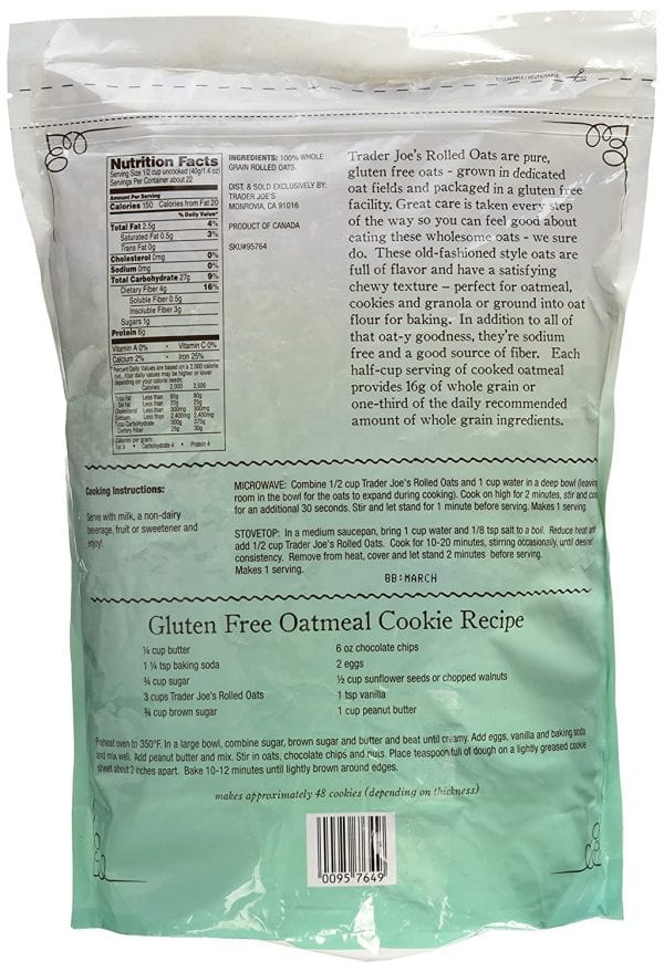 Trader Joes Oatmeal Bag backside with Gluten Free Cookie Recipe