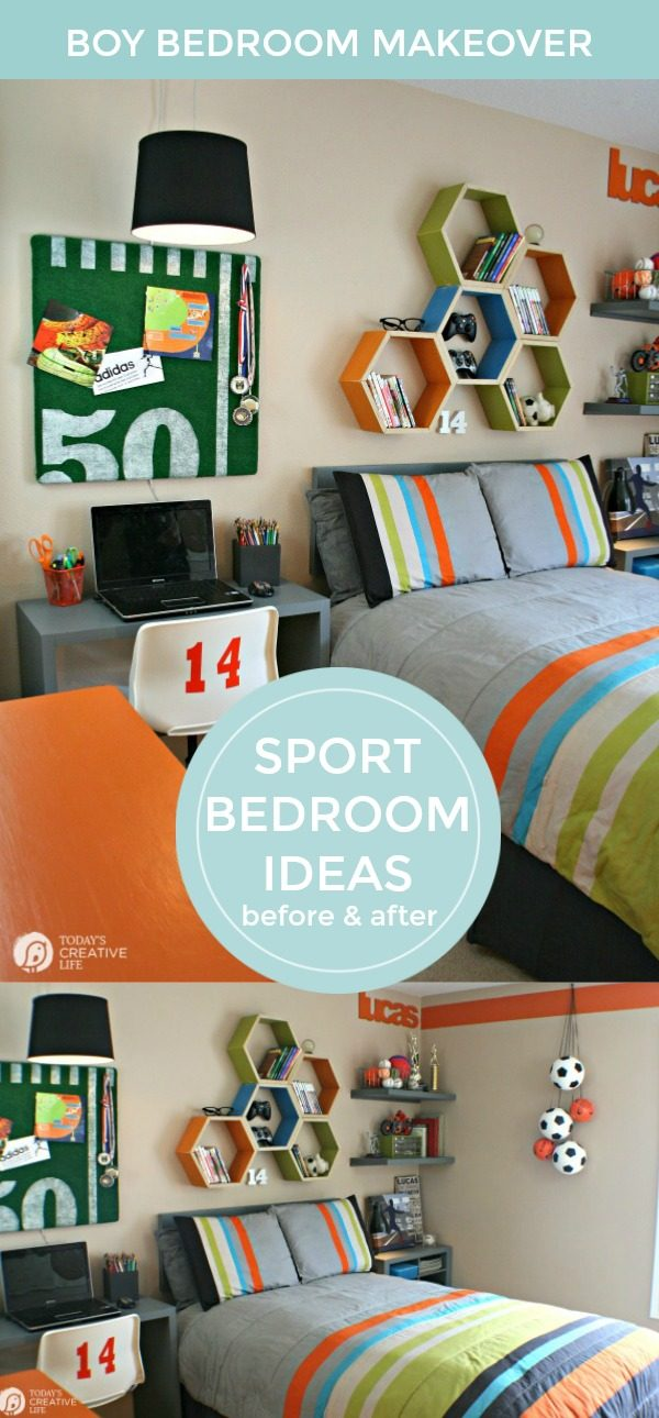 Cool Bedrooms for Boys | Boy Bedroom Ideas | Bedroom makeover ideas for teens | Sport theme bedroom ideas for teen boys | TodaysCreativeLife.com