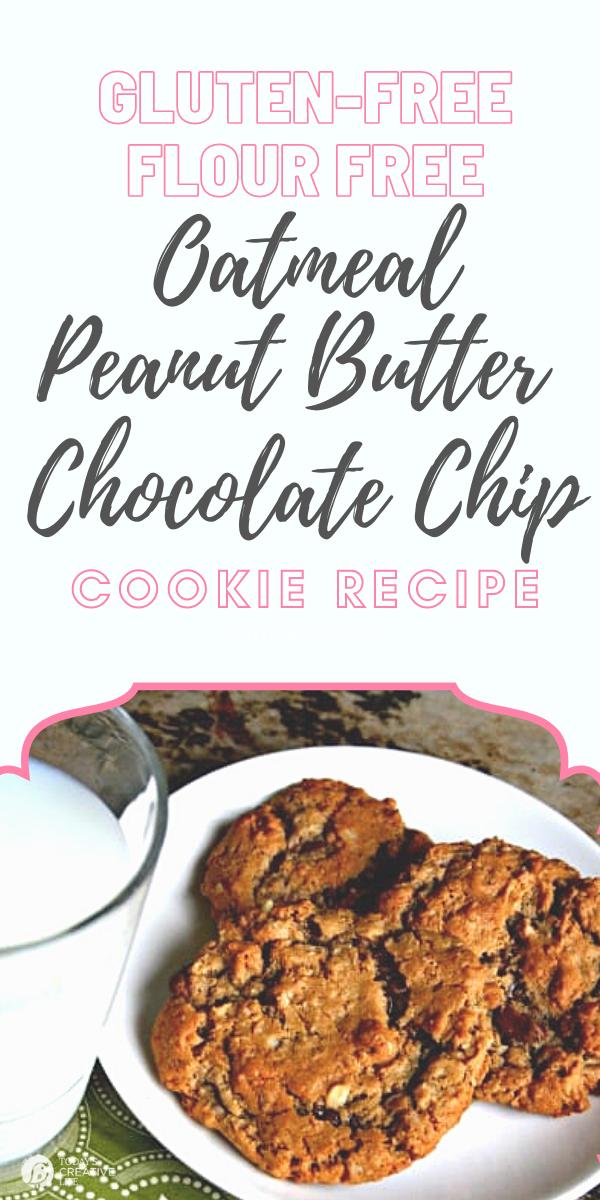 Oatmeal Peanut Butter Chocolate Chip Gluten-Free Cookie recipe on a platter