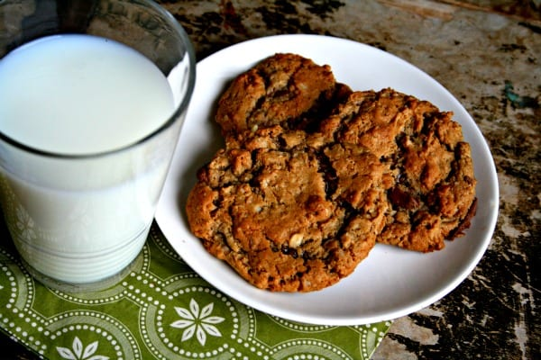 Gluten Free Cookie Recipe  served on a white plate with a glass of milk.