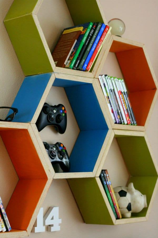 It Was Aaron S Idea To Build The Honeycomb Hexagon Shelving