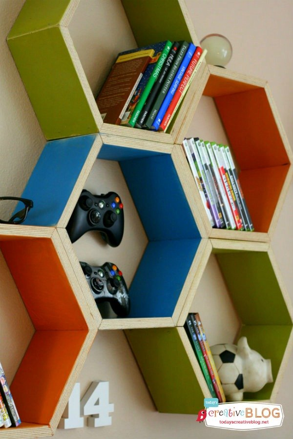 Cool bedroom for teen boys | Hexagon Shelving | Designed with help from Aaron Christensen