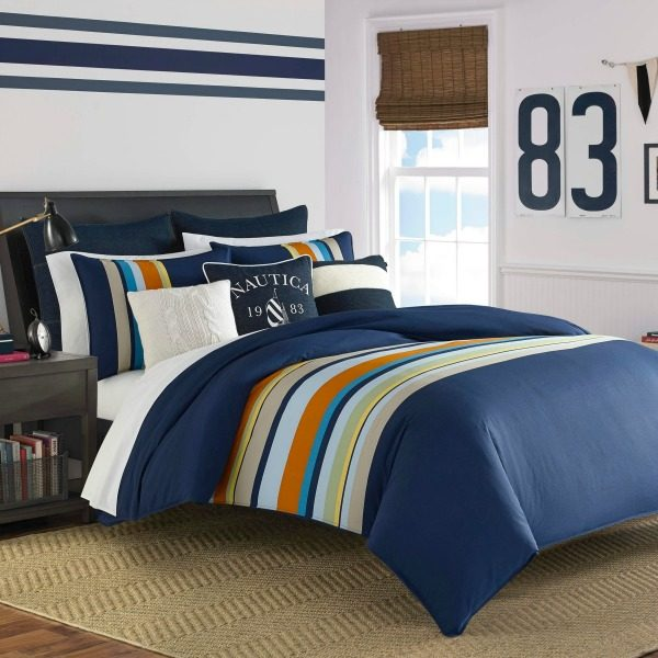 Navy Stripe Boy Bedding