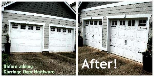 Carriage door hardware for homes