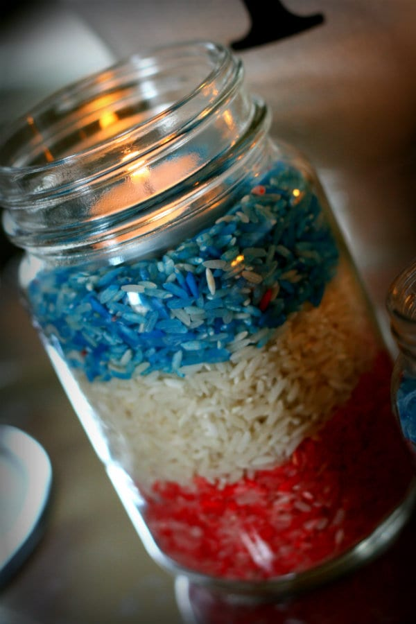 Memorial Day Craft- Colored Rice Table Decor - TodaysCreativeBlog.net