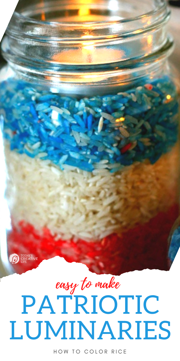 Memorial Day Crafts with layered red white and blue colored rice in a jar.