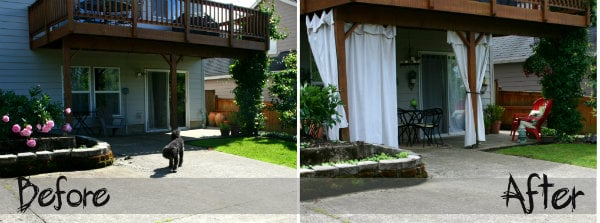 before and after patio