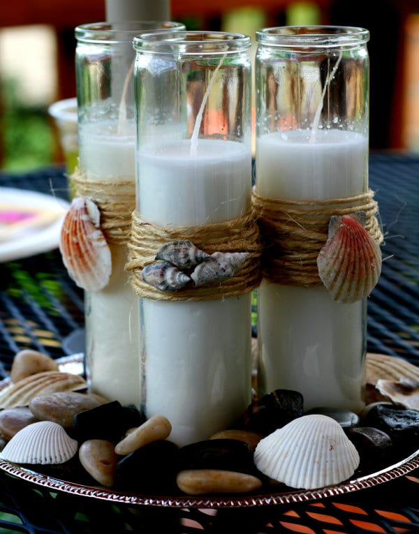 Nautical Theme Candles - decorating with shells | TodaysCreativeBlog.net