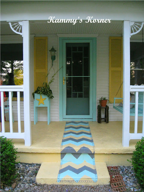 painted chevron porch rug
