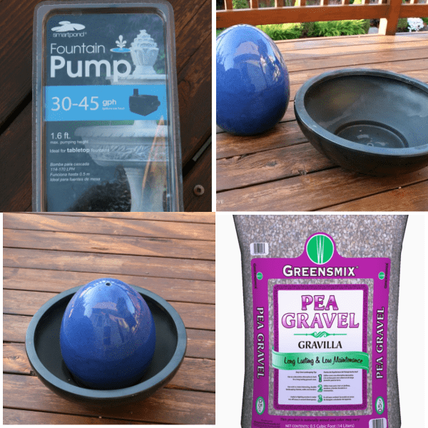 photo collage of fountain supplies