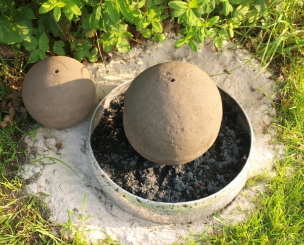 Found concrete ball with fountain hole.