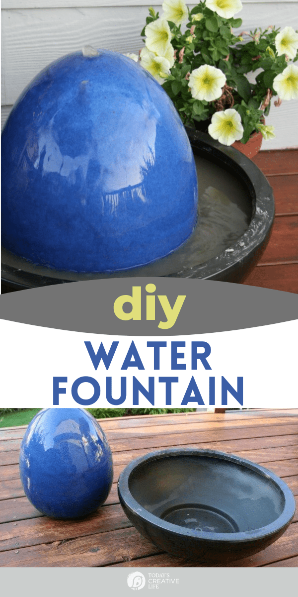 photo collage of a blue egg shaped fountain