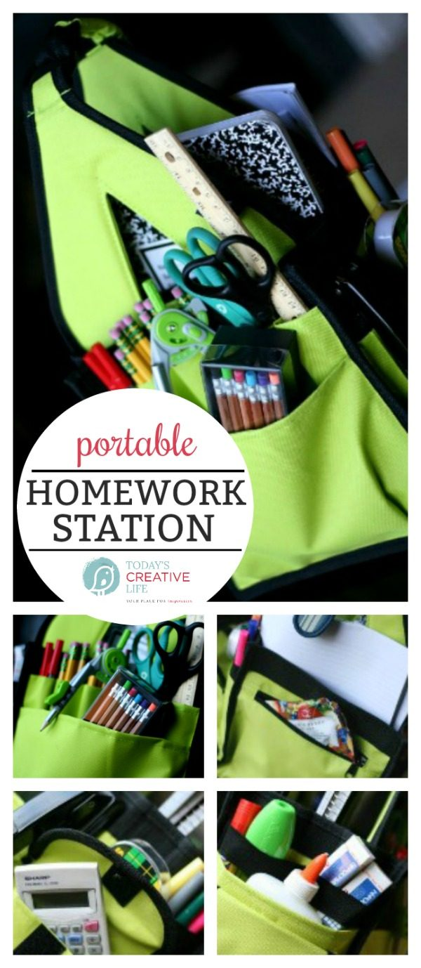 Homework Station | Portable Homework Study Station | Back to school | Study tips | See what to place in your homework tote on TodaysCreativeLife.com