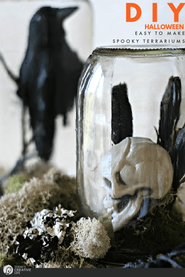 DIY Halloween Decor - 2 jars with Halloween novelties inside.