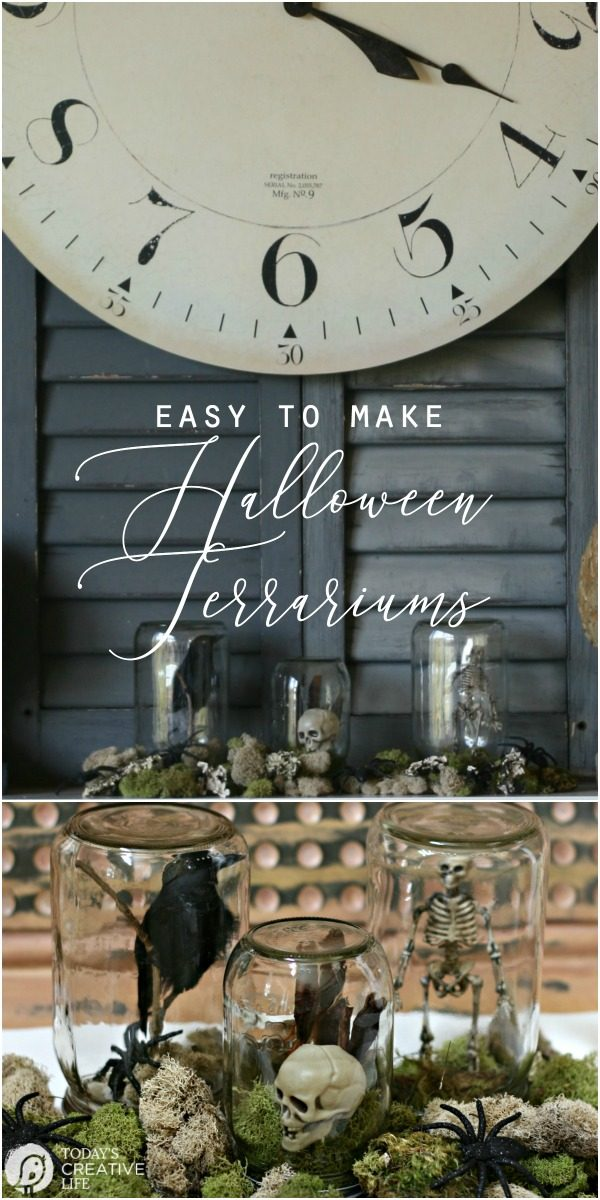 Halloween Spirit | DIY Halloween Decorations | Mason Jar Halloween Terrarium craft ideas | Halloween Table | Jar Crafts | TodaysCreativeLife.com