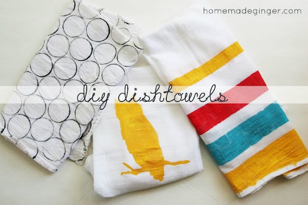 freezer paper stencil painted dish towels